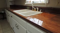 Counter top make over ,$20 clearance flooring from Lowes and spar urethane kitchen idea, counter top, clearanc floor