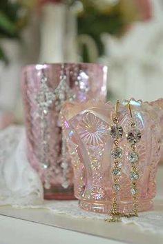 pink bathrooms, carnival glass, pink glass, dream homes, vintage vases, bathroom designs, cranberry glass, carniv glass, design bathroom