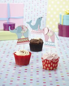 Free templates from issue 125, including these cute elephant cupcake toppers!