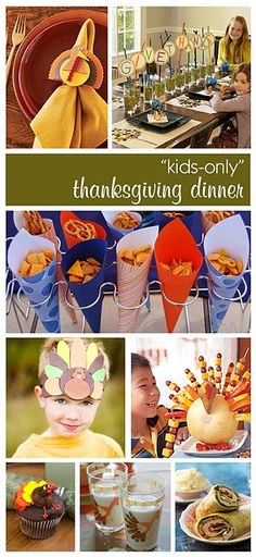Kids only party. Cute ideas for kids on Thanksgiving.