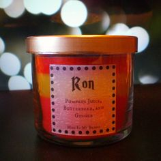 Ron Weasley Scented 4 oz Candle: Pumpkin Juice, Butterbeer, and Ginger from Mud In My Blood