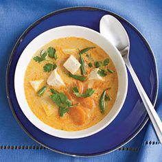 fiery tofu coconut curry soup