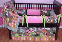 Sweet And Feminine Baby Girls Bedding Sets : Adorable Tatum Grey Floral Baby Girls Bedding Set Inspiration in Light Pink and Hot Pink Wall G...