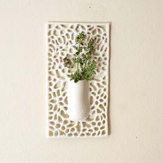 Square Carved Porcelain Lace Hanging Bud Vase by Isabelle Abramson Ceramics