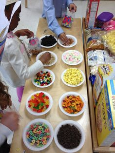 100th day trail mix - students take 10 of each and then fill up 100s board to show 10X10