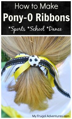 Super easy homemade pony-o ribbons for girls.  Perfect for cheer, dance, school spirit, sports and more!