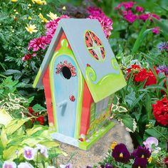 Ladybug Hand Painted Birdhouse with Owls by PaintBrushedBoutique