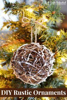 Rustic Christmas Ornaments: DIY Glittery Grapevine Balls