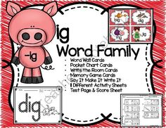 "Short i ""ig"" Word Family Cards and Activities from Teaching Superkids on TeachersNotebook.com -  (42 pages)  - Short i ""ig"" Word Family Cards and Activities"