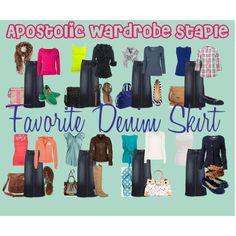 """""""Apostolic Wardrobe Staple: Favorite Denim Skirt"""" by emmyholloway on Polyvore"""