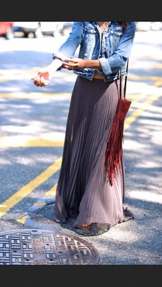 fashion, long skirts, maxis, outfit, street styles, jean jackets, leather bags, style blog, maxi skirts