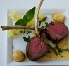 Grilled Lamb Lollipops with Noisette Potatoes and Mint Julep Glaze