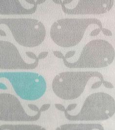 Soft N Comfy Fabric- Whales Blue