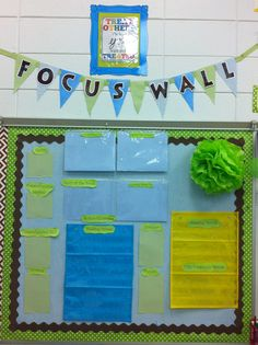 First grade Focus Wall!  Blue birds, baby blue, lime, and brown color theme.