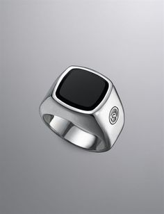 The David Yurman Men's Signet Ring in Sterling with Onyx inlay. simple, classic, yet BOLD.