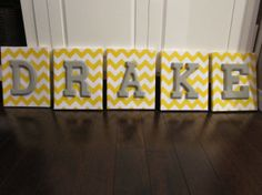 Wall Canvas Letters, Nursery Decor, Nursery Letters, Wooden Letters, Personalized, Nursery Art, Yellow and White Chevron on Etsy, $11.91