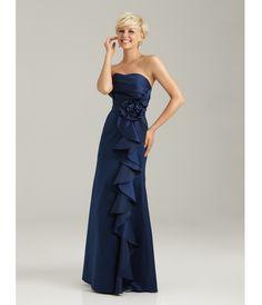2013 Allure Bridesmaid - Navy Satin Crumb-Catcher Long Bridesmaid Dress - Unique Vintage - Prom dresses, retro dresses, retro swimsuits.