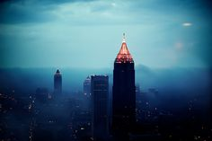 cityscapes, foggi atlanta, boas, atlanta skylin, buildings, atlanta fog, gates, evenings, blues