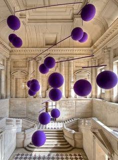 balls, modern art, purple, color, mobiles, xavier veilhan, art exhibition, art history, sculptur