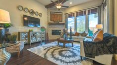 Imagine entertaining friends and family in this  #family room by Darling Homes at Bridges of Las Colinas.