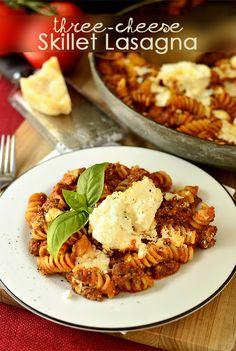 Three-Cheese Skillet Lasagna | iowagirleats.com