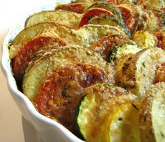 I have been told this is delicious! Summer squash, zucchini, potatoes, onion and parmesan...yum:)