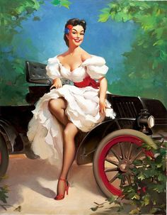 Gil Elvgren-Getting Out After A Car Ride