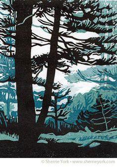 linocut, Sherrie York, trees, forest, nature, colour, printmaking, design, illustration, print, lino