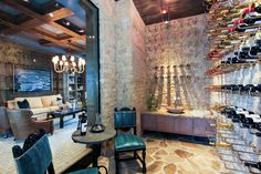 Wine room in a South Ocean Blvd. residence