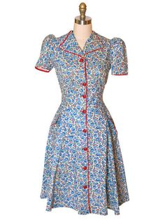 Vintage Cotton Printed  House Dress Blue Roses Red Trim Front Early 1940s 34-28-Free trim front, cotton print, hous dress, vintag cotton, earli 1940s, dress blue, red trim, blues, blue roses