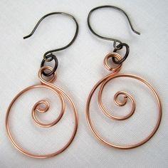 Zen spiral hoop earrings how to by Rena Klingenberg.  #Wire #jewelry #Tutorials