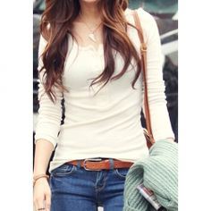 $5.40 Slimming Solid Color and Long Sleeve Round Neck Design Cotton T-Shirt For Women