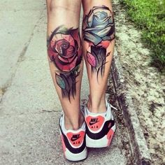 color tattoos, rose tattoos, leg tattoos, a tattoo, flower tattoos, flowers, tattoo ink, calves, blue roses