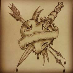 Traditional heart arrow dagger tattoo sketch by - Ranz