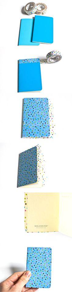 Cover a Molskine notebook with washi tape #DIY #washi #make #washitape