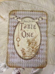 Wonderland table number ideas