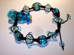 LABOUR DAY SALE  Ocean Blue Lampwork bottle by LeMystiqueAnge, $29.99
