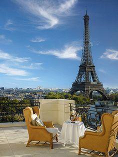 ...coffee on the terrace of Hotel SHANGRI-LA, Paris @}-,-;--