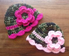 Crocheted Baby Girl Camo & Pink Hat Set, Twin Hat Set with Flowers - Camo with Dark and Light Pink - Newborn to 12 Month - MADE TO ORDER hats, crochet babi, girl twin stuff, pink hat, hat set, girl camo, baby girls, babi girl, crochet camo