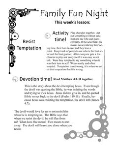 Fun Family Devotions Topic: Temptation. Free printable lesson and activity. Could be used in small group or sunday school as well