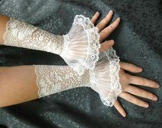 French lace Cuffs baroque, wedding styles, vintage lace, alice in wonderland, white, royal weddings, victorian wedding, cuffs, wedding gloves