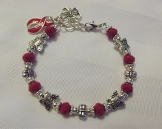 Red Awareness Butterfly Bracelet for AIDS, MADD, Hypertension, Heart Disease, and more!
