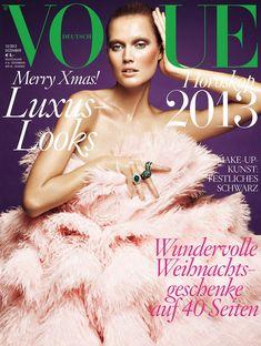 Toni Garrn Graces Vogue Germanys December 2012 Cover in Alexander McQueen