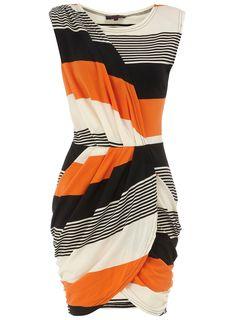 Orange striped wrap over dress