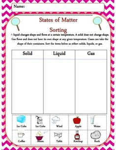 Solids, liquid, and gas sorting activity! One of 19 pages from my 1st grade emergency sub plan packet. Enough work for several days!
