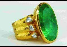 Gurhan 24k Emerald Ring with Rose Cut Diamonds