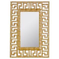 Worlds Away Greek Key Gold Capiz Shell Mirror #zincdoor #greekkey