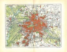 Berlin and Environs City Plan Vintage Map Germany 1923 by carambas, $16.00