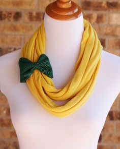 Infinity Scarf - Yellow- with Green Bow Cuff - Green and gold, Green and yellow