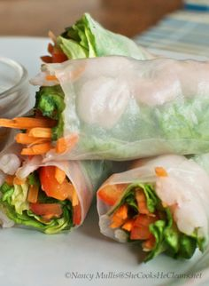 Love this healthy spring roll recipe with no peanut sauce! | she cooks she cleans